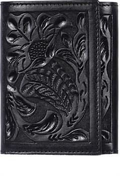 3D Black Western Trifold Wallet