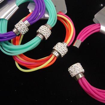 Trending Multi Gummy Cord Magnetic Bracelet w/ Crystal Bead