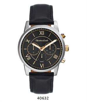 Montres Carlo Black Faux Leather Strap watch
