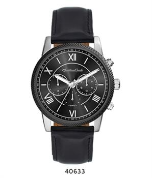 Montres Carlo Black Faux Leather Strap watch