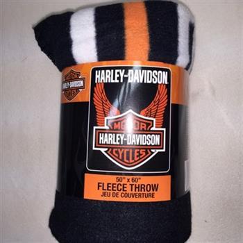 "Angelo's Sportswear - Harley Davidson Wing Design Fleece Throw Blanket - 50"" x 60"""