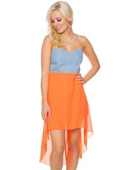 Coral Sweetheart Neckline Chambray Bodice High Low Hem Dress