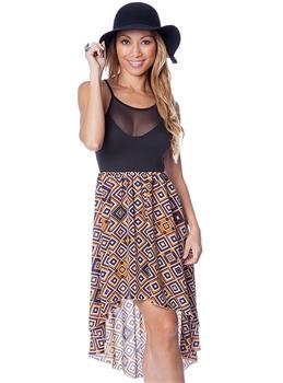Purple Tribal Inspired Print Sheer Net Yoke High Low Hem Dress
