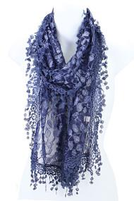 S2149- Leafy Lace Pattern Scarf with Tassels