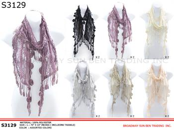 S3129-B Duo Tassels Lace Scarf (Unit: Dozen / Piece )