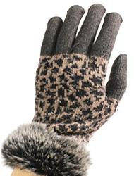G3207F- Animal Print Winter Texting Gloves with Faux Fur Cuff