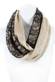 S3294- Winter Floral Lace Infinity Scarf