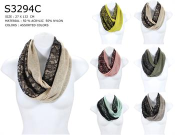Broadway Sun Ben Trading Inc. - S3294- Winter Floral Lace Infinity Scarf
