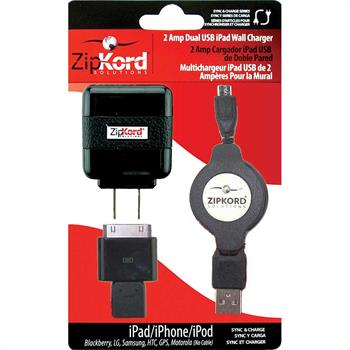Zipkord 2 Amp Dual USB iPad Wall Charger with Sync Cable