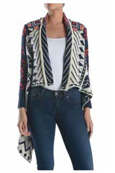 LADIES - STRIPED - KNITTED PONCHO