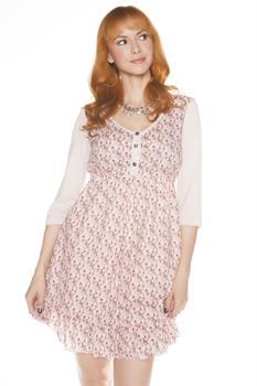 JUNIOR - PINK - FLORAL PRINT PUFF DRESS