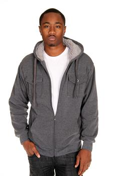 GREY - MEN'S - HOODIE W/ FRONT POCKETS AND SHERPA LINING