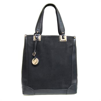 G&R Faux-Suede Tall Handbag Black