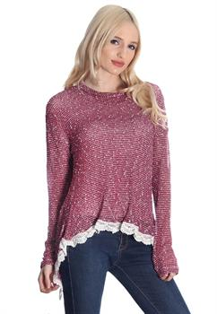 Burgundy Lace Hem Split Back Blouse