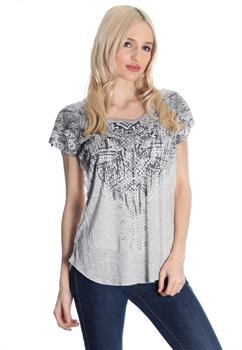 Grey Aztec Printed Lace Back Blouse