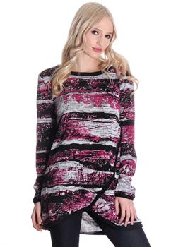 Pink & Black Abstract Blouse