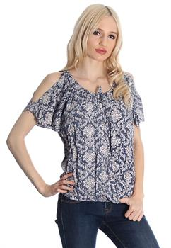 Washed Navy Printed Cold Shoulder Top