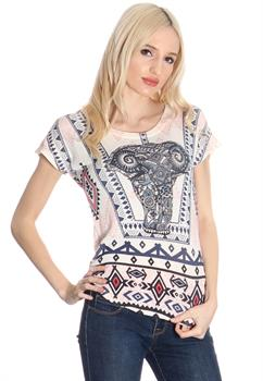 White, Navy & Pink Elephant Printed Top