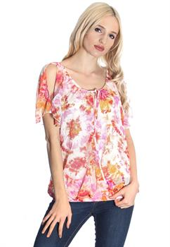 Pink & Orange Floral Cold Shoulder Blouse