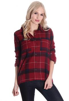 Red & Navy Button Down Plaid Blouse