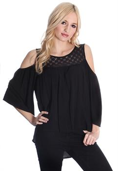 Black Cold Shoulder Crochet Panel Top