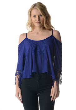 Blue Tribal Cold Shoulder Tassled Top