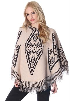 Stone & Black Tribal Printed Poncho