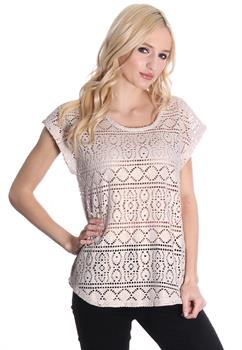 Taupe Crochet Glittered Top