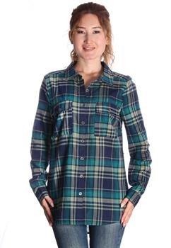 Green & Blue Long Sleeve Plaid Blouse