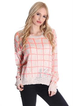 Taupe & Coral Checkered Sweater