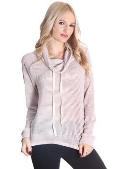 Blush Knit Cowl Neck Sweater