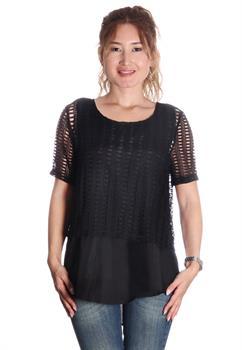Black Crochet Layered Blouse