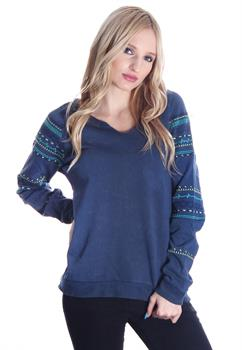 Blue Washed Tribal Stitched Sweater