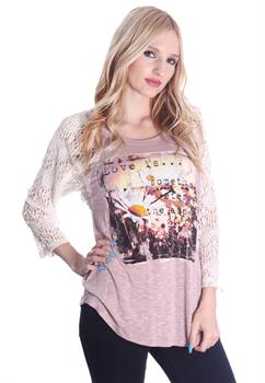 Pink Printed Crochet Sleeve Blouse