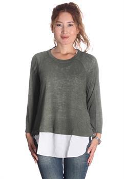 Olive Mix Media Split Back Sweater Knit