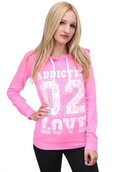 Pink Printed Light Weight Hoodie