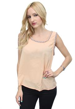 Light Pink Studded Collar Top