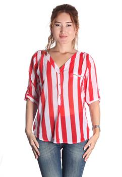 Red & White Stripe Button Down Blouse