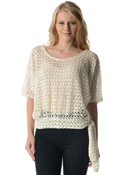 Good Stuff Apparel - White Banded Crochet Blouse