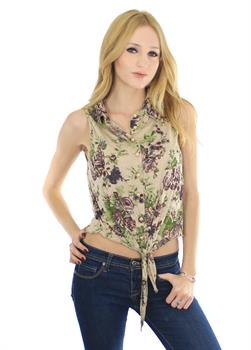Taupe Floral Tie Bottom Top