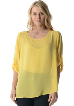 Yellow Scoop Neck Rolled Sleeved Blouse