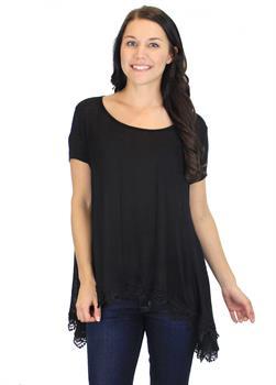 Black Lace Embellished Tunic
