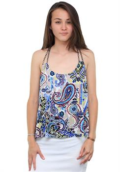 Blue Paisley Tank with Chain Straps