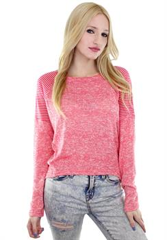 Red Stripe Shoulder Hacci Sweater