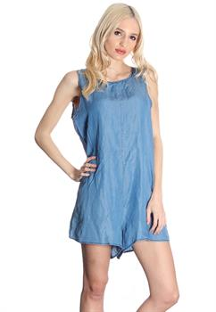 Blue Open Back Romper