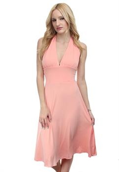 Salmon Banded Waist Dress