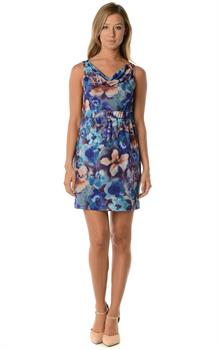 Purple & Blue Floral Cowl Neck Dress