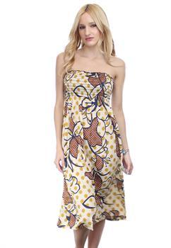 Good Stuff Apparel - Taupe & Yellow Flower Print Strapless Dress