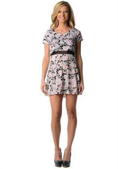 Pink & White Floral Mesh Dress