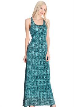 Aqua & Black Printed Maxi Dress